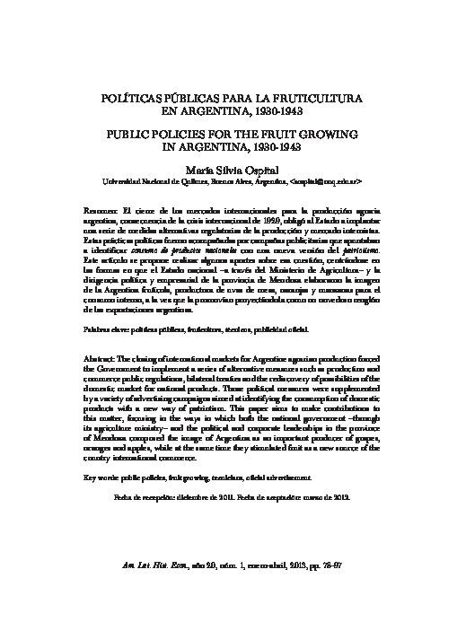Políticas públicas para la fruticultura en Argentina, 1930–1943