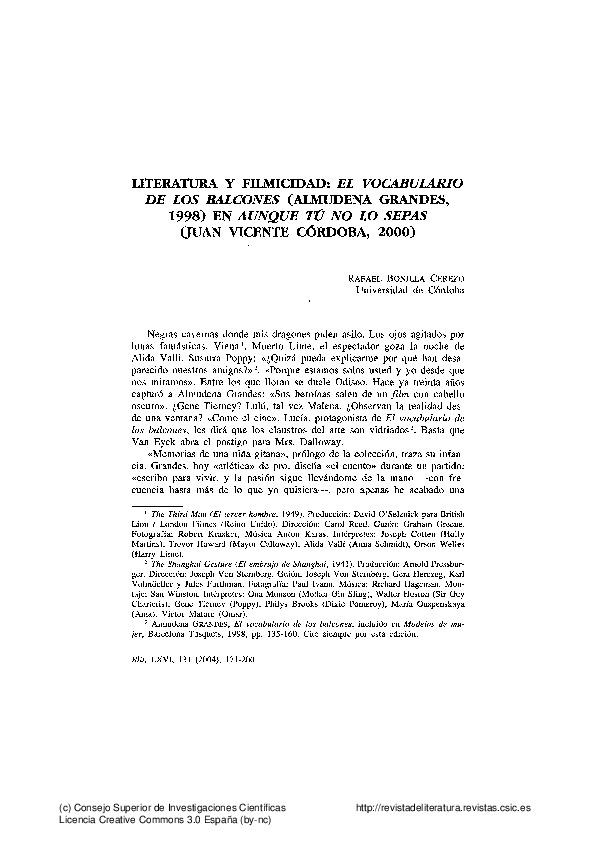 Literatura y filmicidad: El vocabulario de los balcones (Almudena Grandes, 1998) en Aunque tú no lo sepas (Juan Vicente Córdoba, 2000)