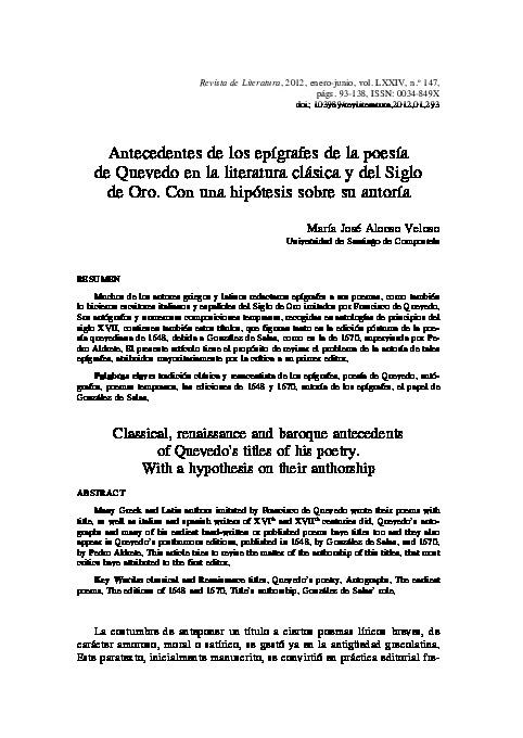 Antecedentes de los epígrafes de la poesía de Quevedo en la literatura clásica y del Siglo de Oro. Con una hipótesis sobre su autoría
