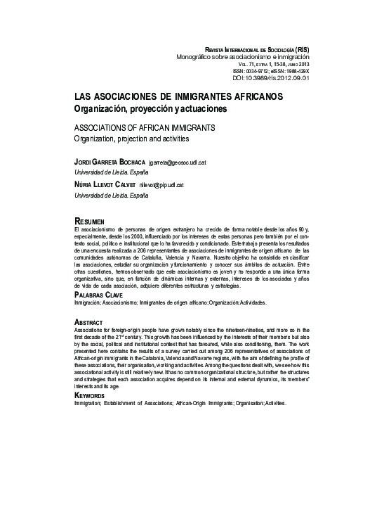 Las asociaciones de inmigrantes africanos. Organización, proyección y actuaciones