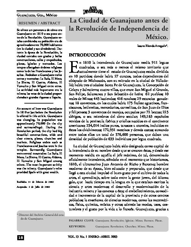 La ciudad de Guanajuato antes de la Revolución de Independencia de México