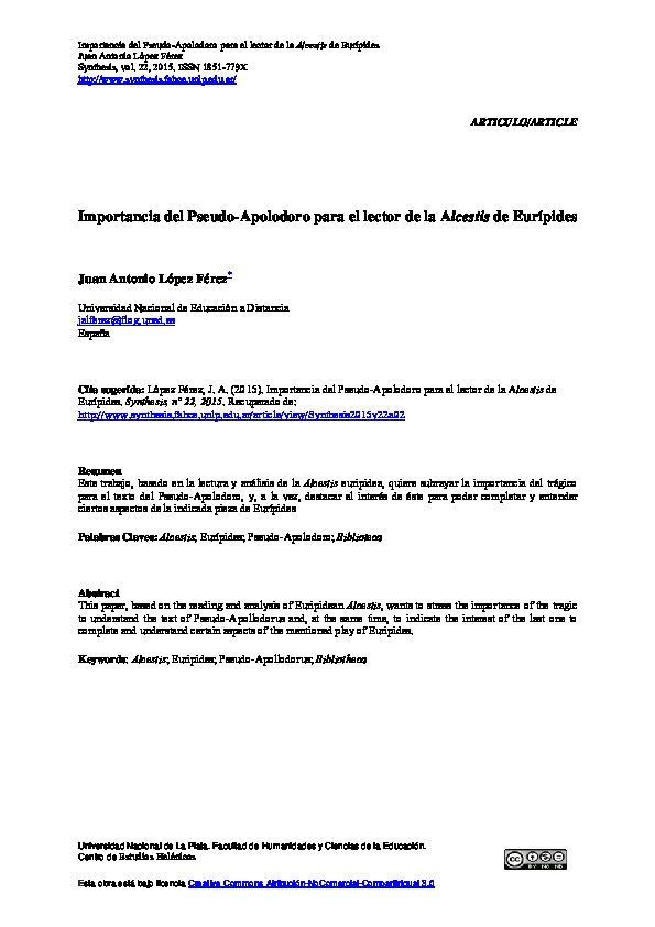 Importancia del Pseudo-Apolodoro para el lector de la Alcestis de Eurípides