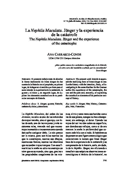 La Nephila Maculata. Jünger y la experiencia de la catástrofe
