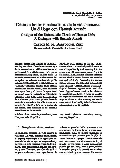 Crítica a las tesis naturalistas de la vida humana. Un diálogo con Hannah Arendt
