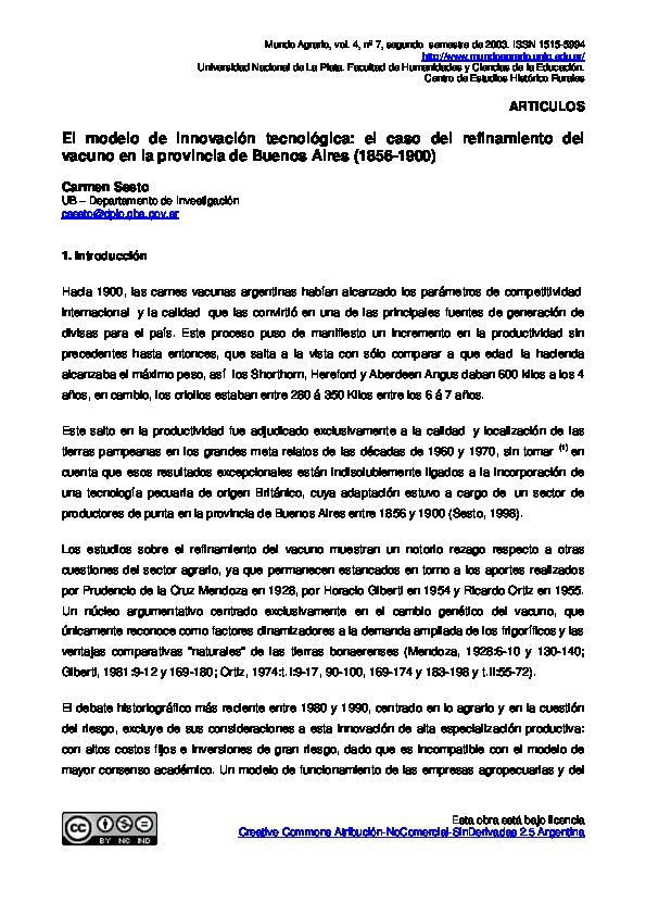El modelo de innovación tecnológica: el caso del refinamiento del vacuno en la provincia de Buenos Aires (1856-1900)