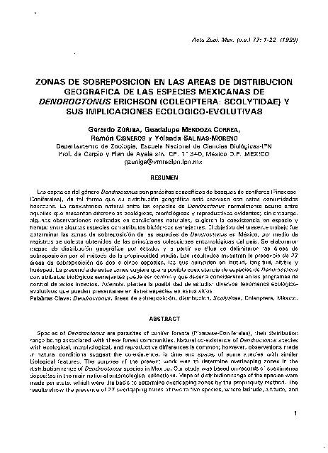 Zonas de sobreposición en las áreas de distribución geográfica de las especies mexicanas de Dentroctonus, Erichson, (coleóptera: Scolytidae) y sus implicaciones ecológico-evolutivas