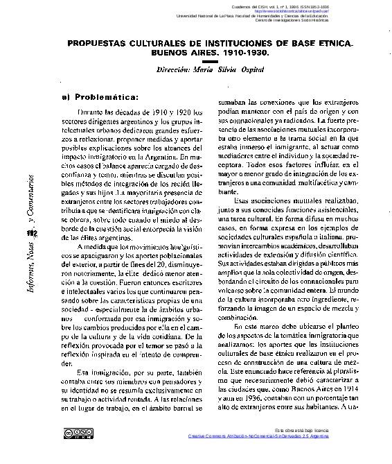 Proyecto de investigación. Propuestas culturales de instituciones de base étnica. Buenos Aires. 1910-1930