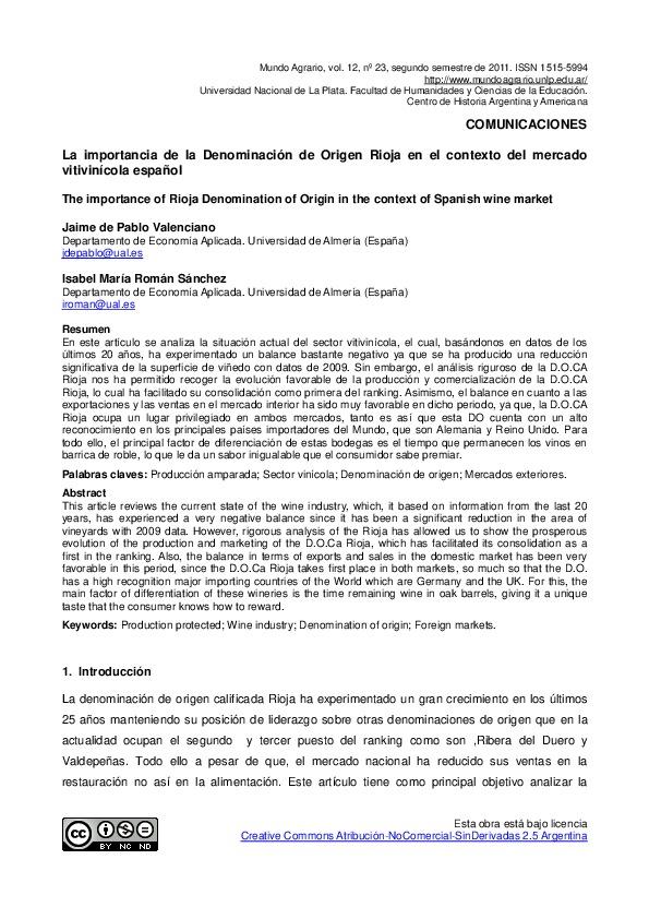 La importancia de la Denominación de Origen Rioja en el contexto del mercado vitivinícola español