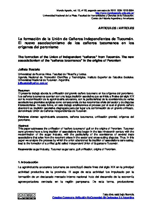 La formación de la Unión de Cañeros Independientes de Tucumán. El nuevo asociacionismo de los cañeros tucumanos en los orígenes del peronismo