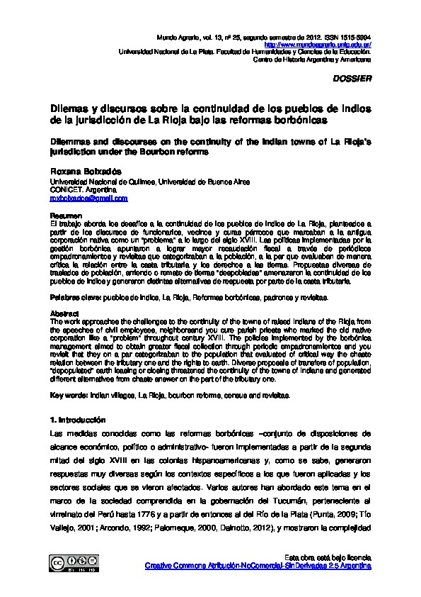 Dilemas y discursos sobre la continuidad de los pueblos de indios de la jurisdicción de La Rioja bajo las reformas borbónicas