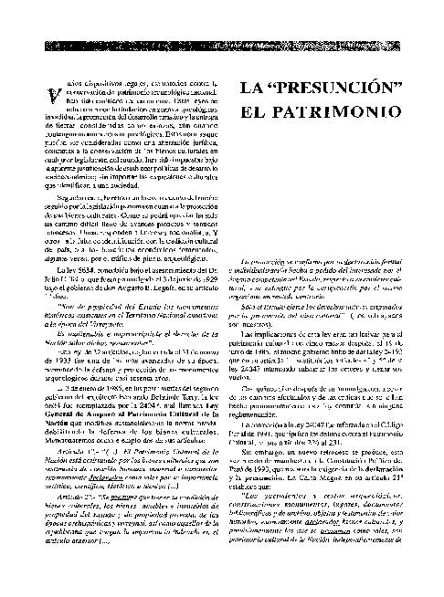 """La """"Presunción"""" y las Leyes que Destruyen el Patrimonio Arqueológico de la Nación"""