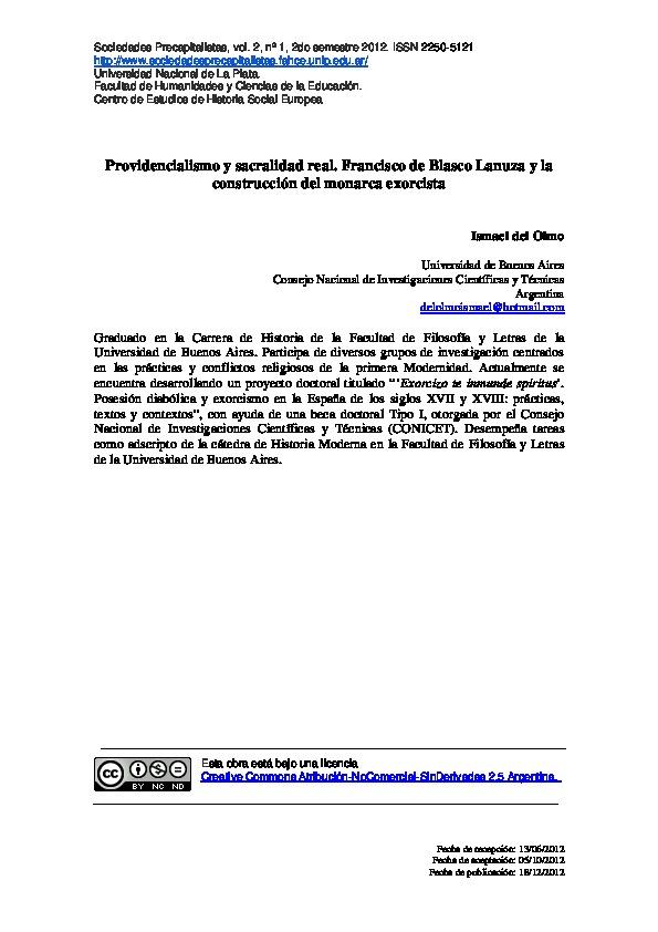 Providencialismo y sacralidad real. Francisco de Blasco Lanuza y la construcción del monarca exorcista