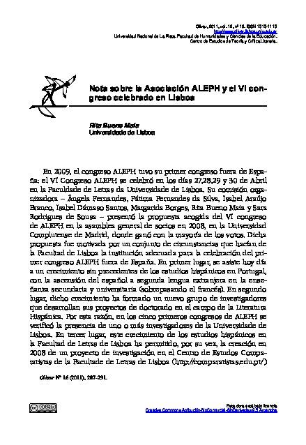 Nota sobre la Asociación ALEPH y el VI congreso celebrado en Lisboa