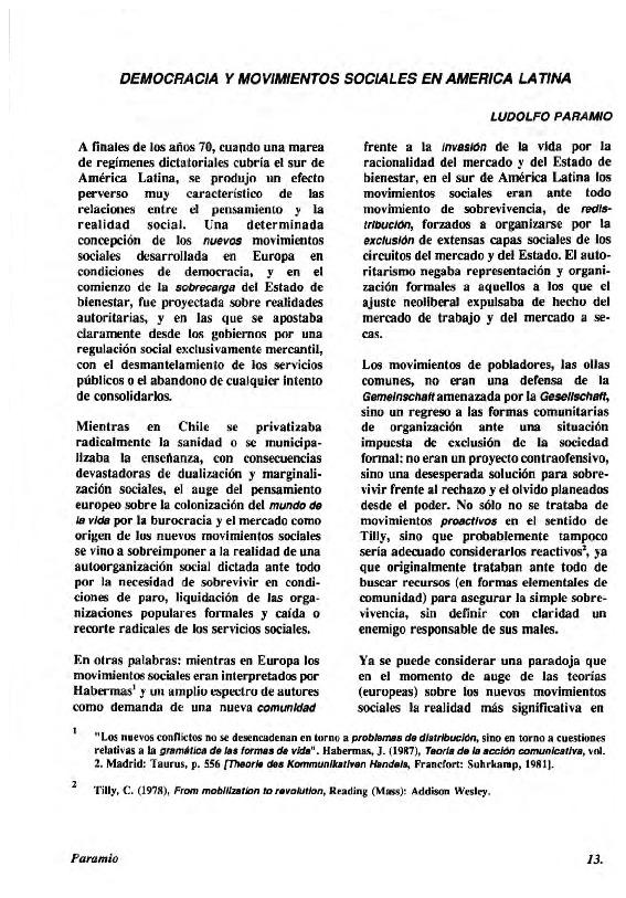 Democracia y movimientos sociales en América Latina