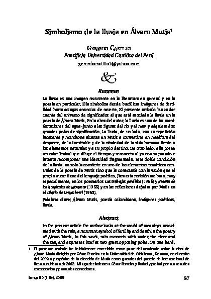 Simbolismo de la lluvia en Álvaro Mutis