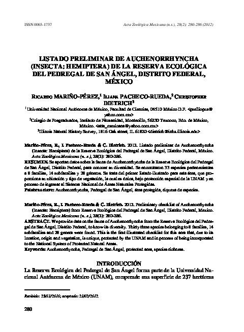 Listado preliminar de auchenorrhyncha (insecta: hemiptera) de la reserva ecológica del pedregal de san ángel, distrito federal, México