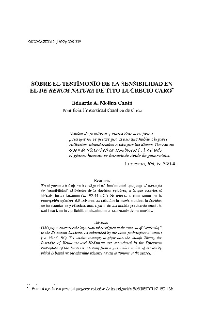 Sobre el testimonio de la sensibilidad en el De Rerum Natura de Tito Lucrecio Caro