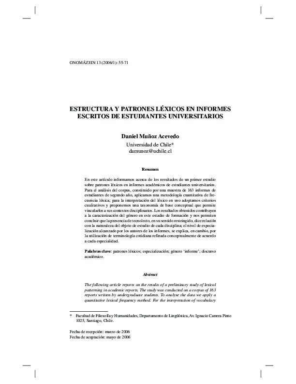 Estructura y patrones léxicos en informes escritos de estudiantes universitarios