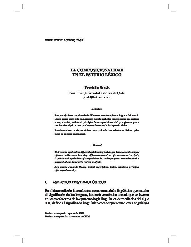 La composicionalidad en el estudio léxico
