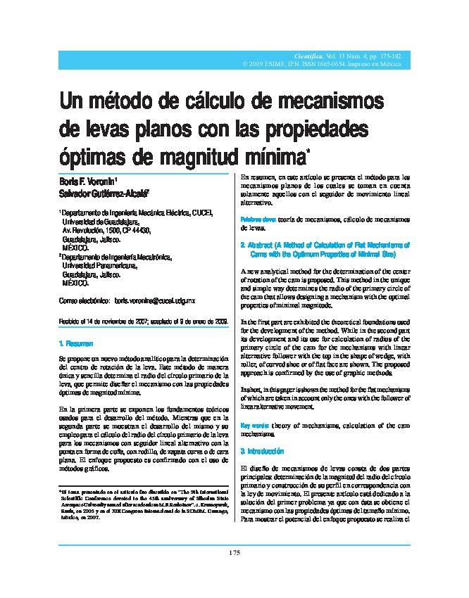 Un método de cálculo de mecanismos de levas planos con las propiedades óptimas de magnitud mínima