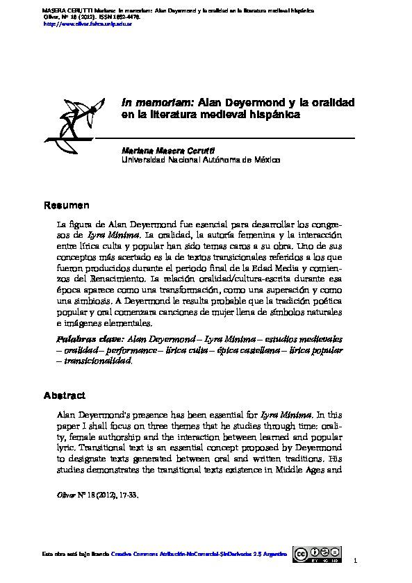 In memoriam: Alan Deyermond y la oralidad en la literatura medieval hispánica