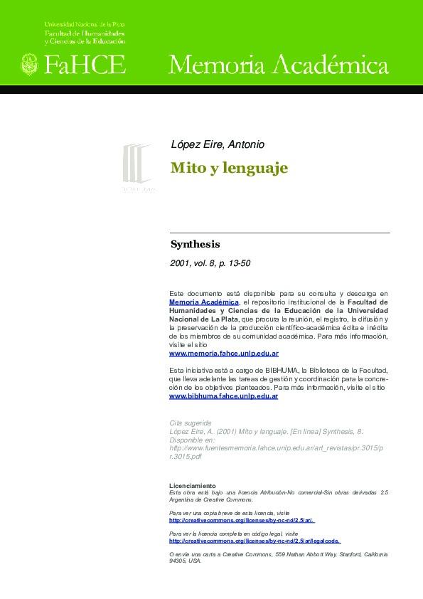 Mito y lenguaje