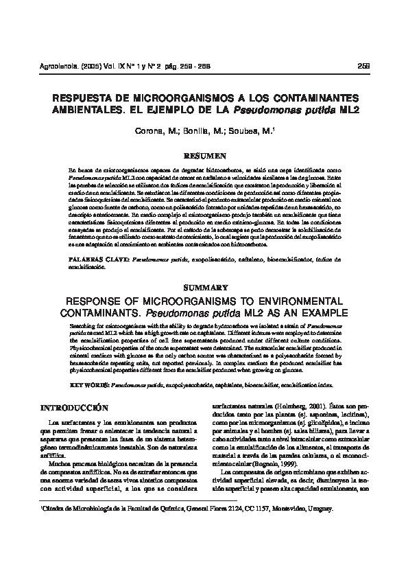 Respuesta de microorganismos a los contaminantes ambientales el ejemplo de la Pseudomonas putida ML2
