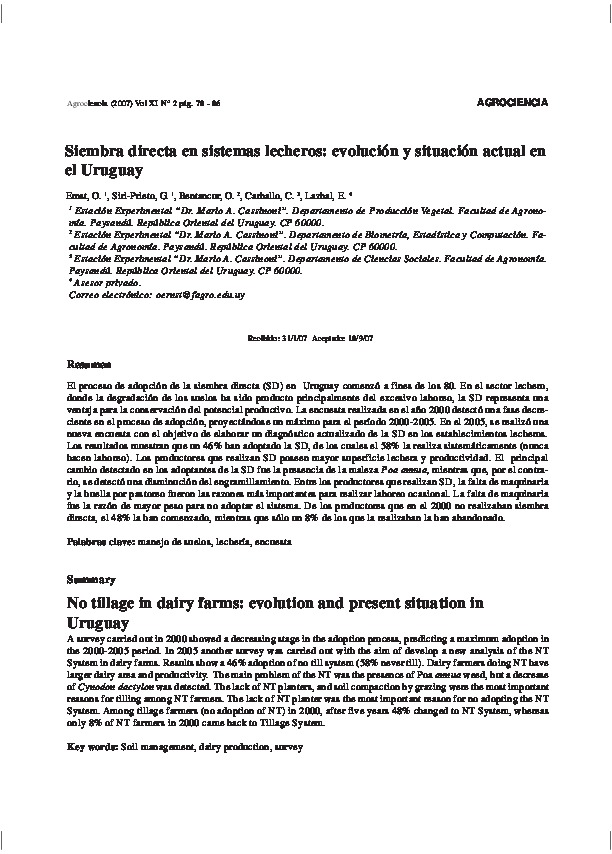 Siembra directa en sistemas lecheros evolución y situación actual en el Uruguay