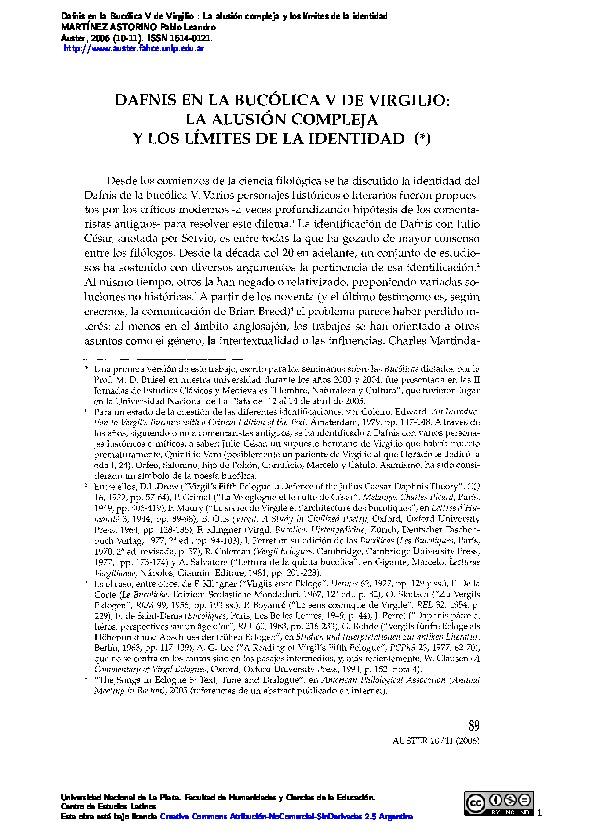 Dafnis en la Bucólica V de Virgilio: La alusión compleja y los límites de la identidad