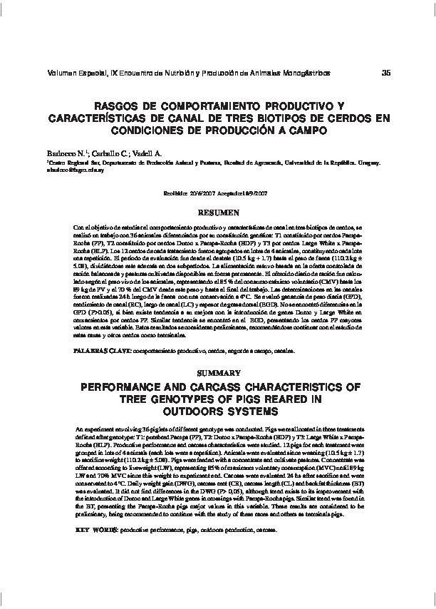 Rasgos de comportamiento productivo y características de canal de tres biotipos de cerdos en condiciones de producción a campo