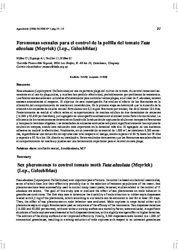 Feromonas sexuales para el control de la polilla del tomate Tuta absoluta (Meyrick) (Lep., Gelechiidae)