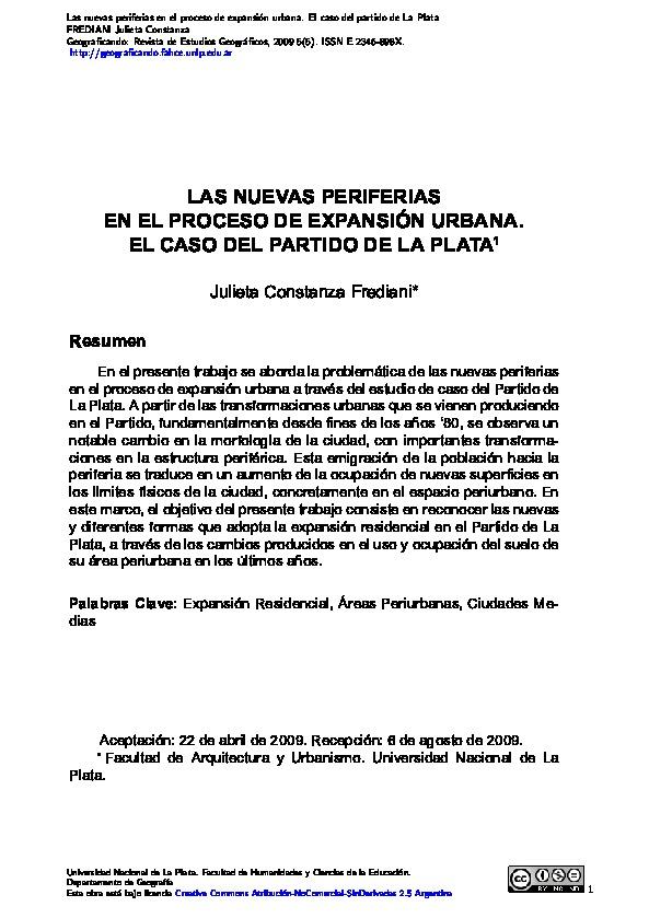 Las nuevas periferias en el proceso de expansión urbana. El caso del partido de La Plata