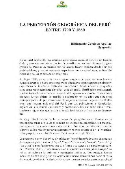 La percepción geográfica del Perú entre 1790 y 1880