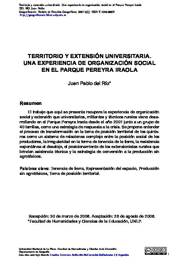 Territorio y extensión universitaria. Una experiencia de organización social en el Parque Pereyra Iraola