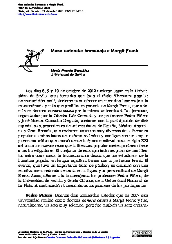 Mesa redonda: homenaje a Margit Frenk