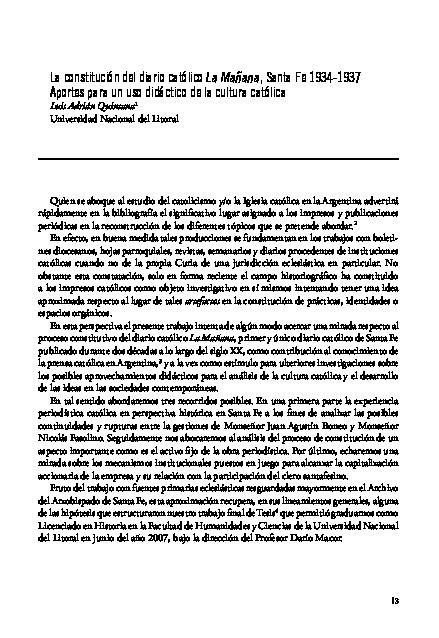 La constitución del diario católico La Mañana, Santa Fe 1934-1937. Aportes para un uso didáctico de la cultura católica