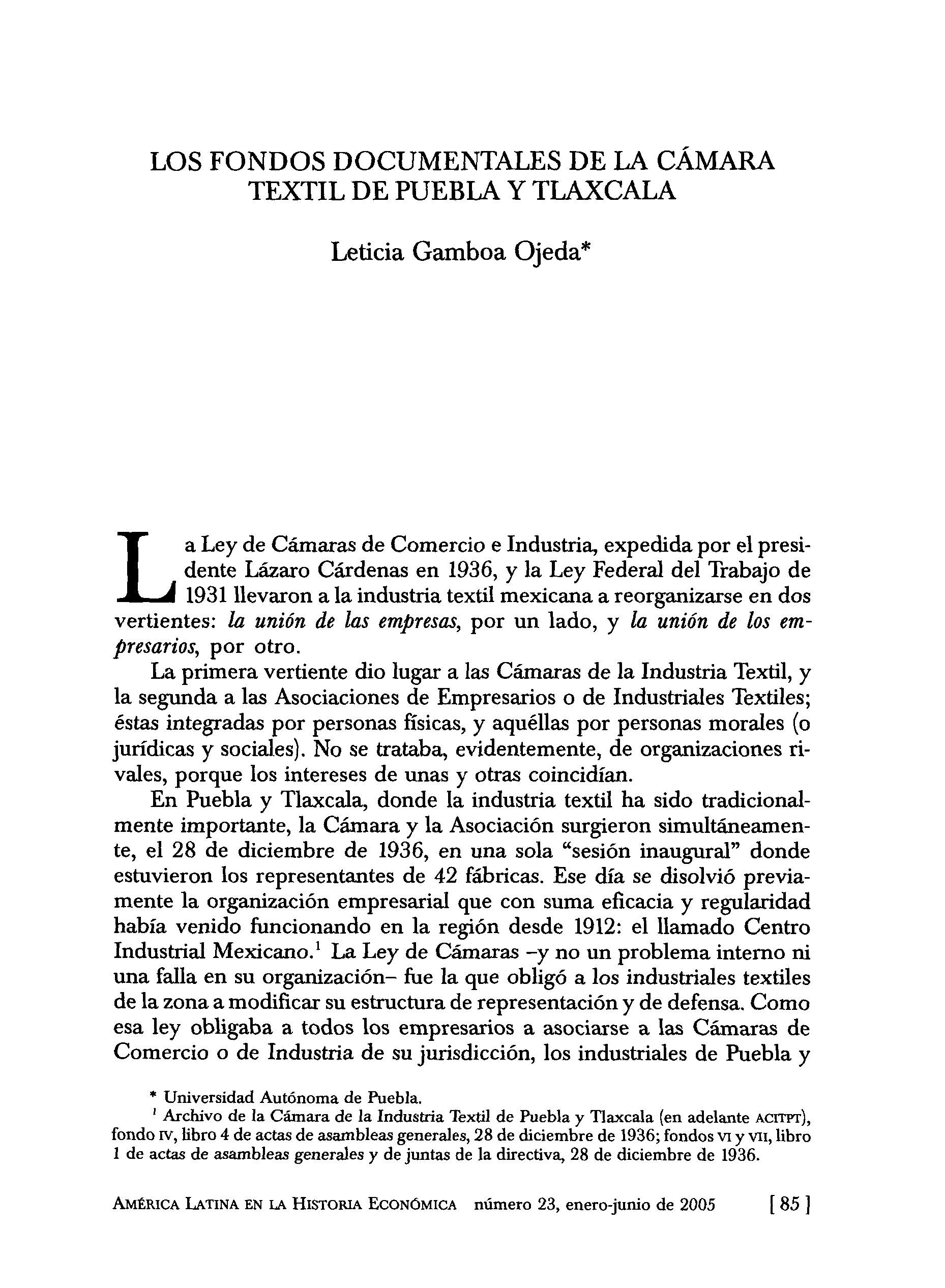 Los fondos documentales de la cámara textil de Puebla y Tlaxcala