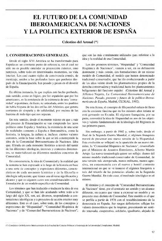 El futuro de la Comunidad Iberoamericana de Naciones y la política exterior de España