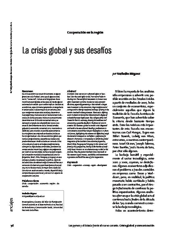 La crisis global y sus desafíos