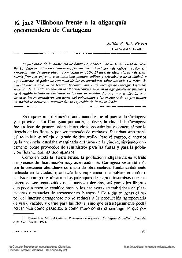 El juez Villalobos frente a la oligarquía encomendera de Cartagena