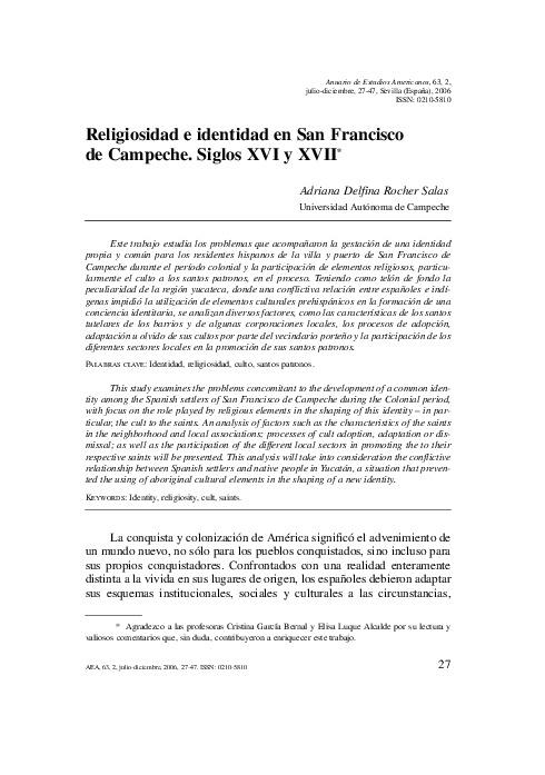 Religiosidad e identidad en San Francisco de Campeche. Siglos XVI y XVII