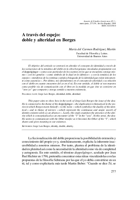 A través del espejo: doble y alteridad en Borges
