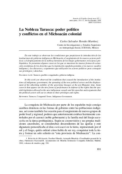 La Nobleza Tarasca: poder político y conflictos en el Michoacán colonial