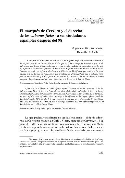 El marqués de Cervera y el derecho de los cubanos fieles a ser ciudadanos españoles después del 98