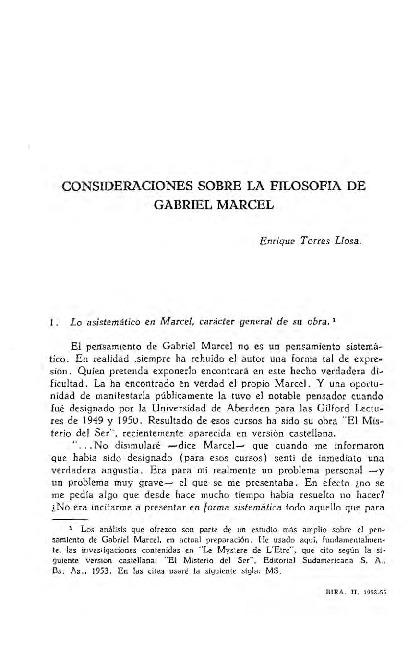 Consideraciones sobre la Filosofía de Gabriel Marcel