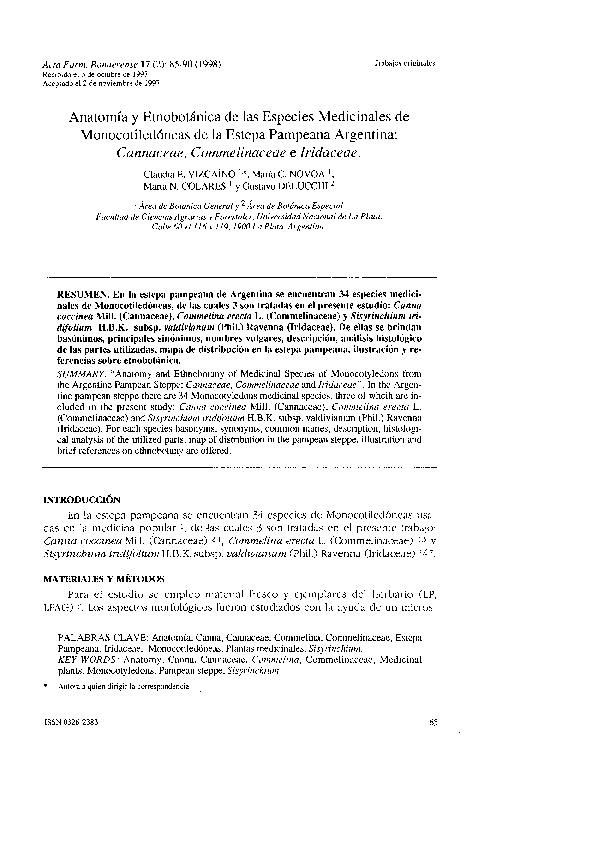 Anatomía y etnobotánica de las especies medicinales de monocotiledóneas de la Estepa Pampeana Argentina: Cannaceae, Commelinaceae e Iridaceae