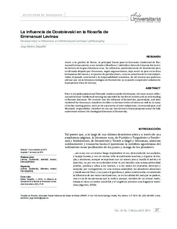 La influencia de Dostoievski en la filosofía de Emmanuel Levinas